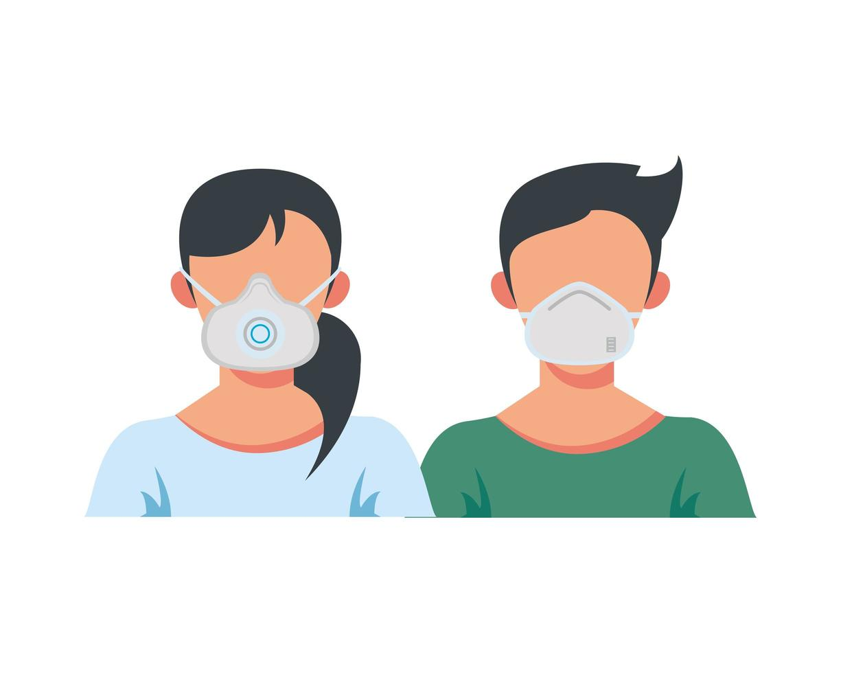 ungt par som bär medicinska masker vektor