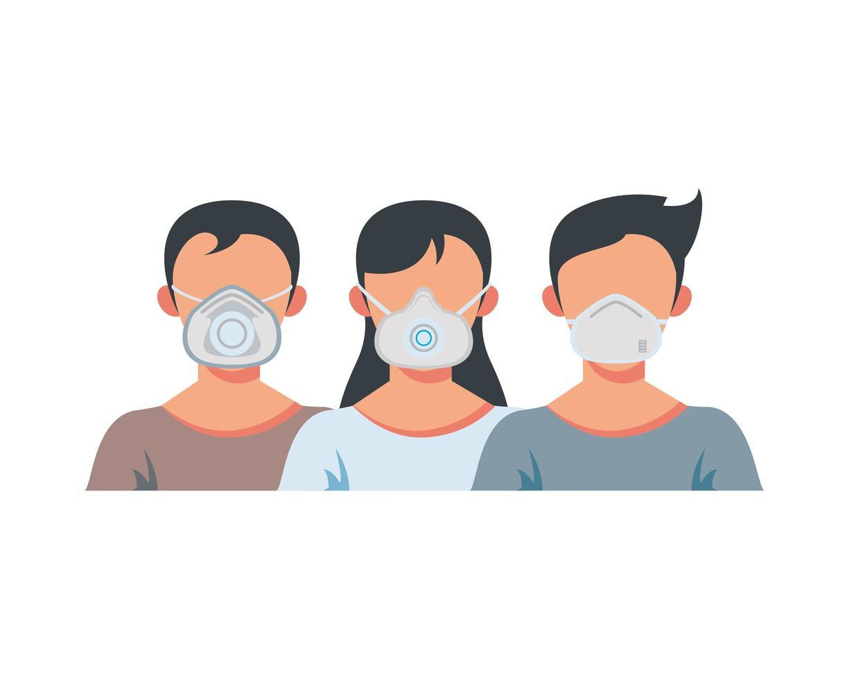 junge Menschen, die medizinische Gesichtsmasken tragen vektor