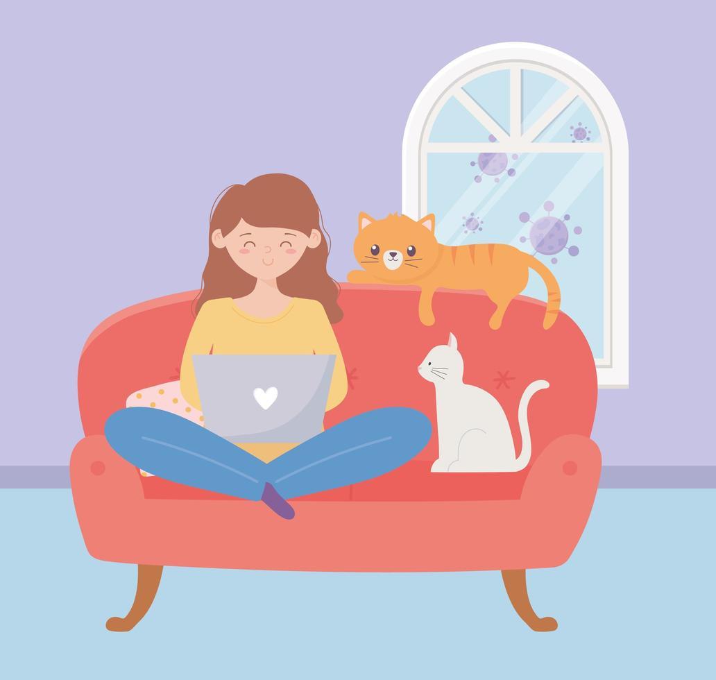 ung kvinna i soffan med katter vektor