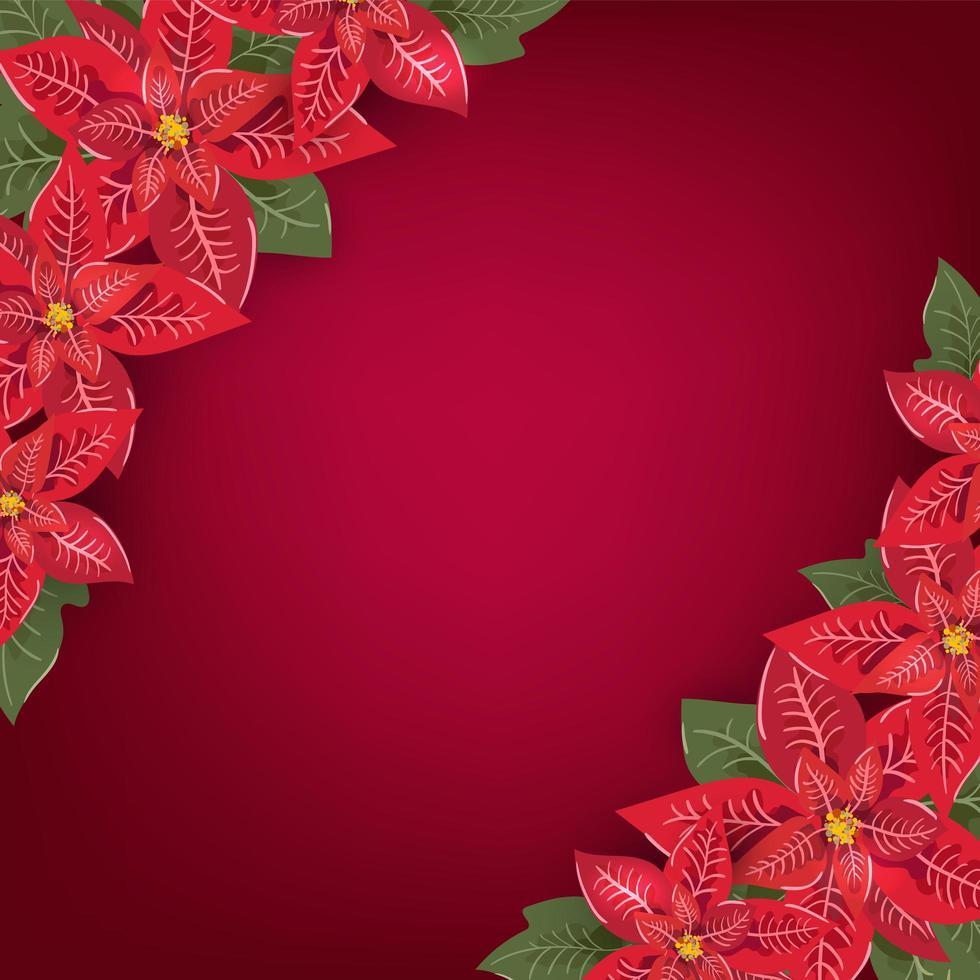 rött jul gratulationskort med julstjärna hörn vektor