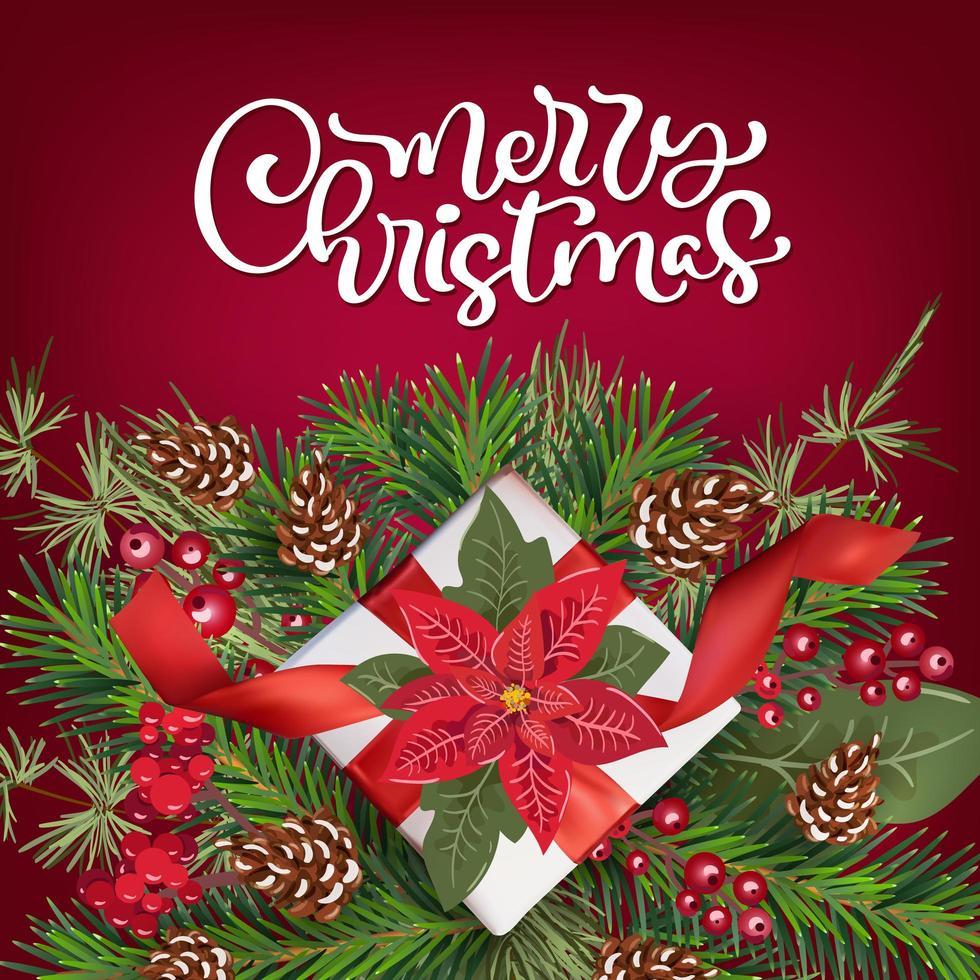jul gratulationskort med julstjärna och present dekoration vektor