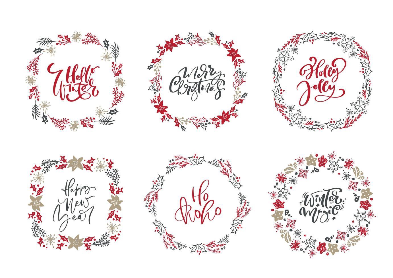 uppsättning skandinaviska julkransar och kalligrafi vektor