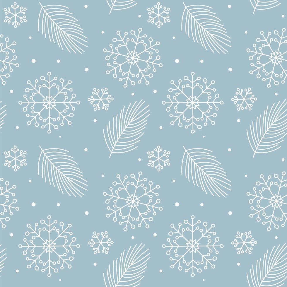 julblad, snöflingor monolin sömlösa mönster vektor