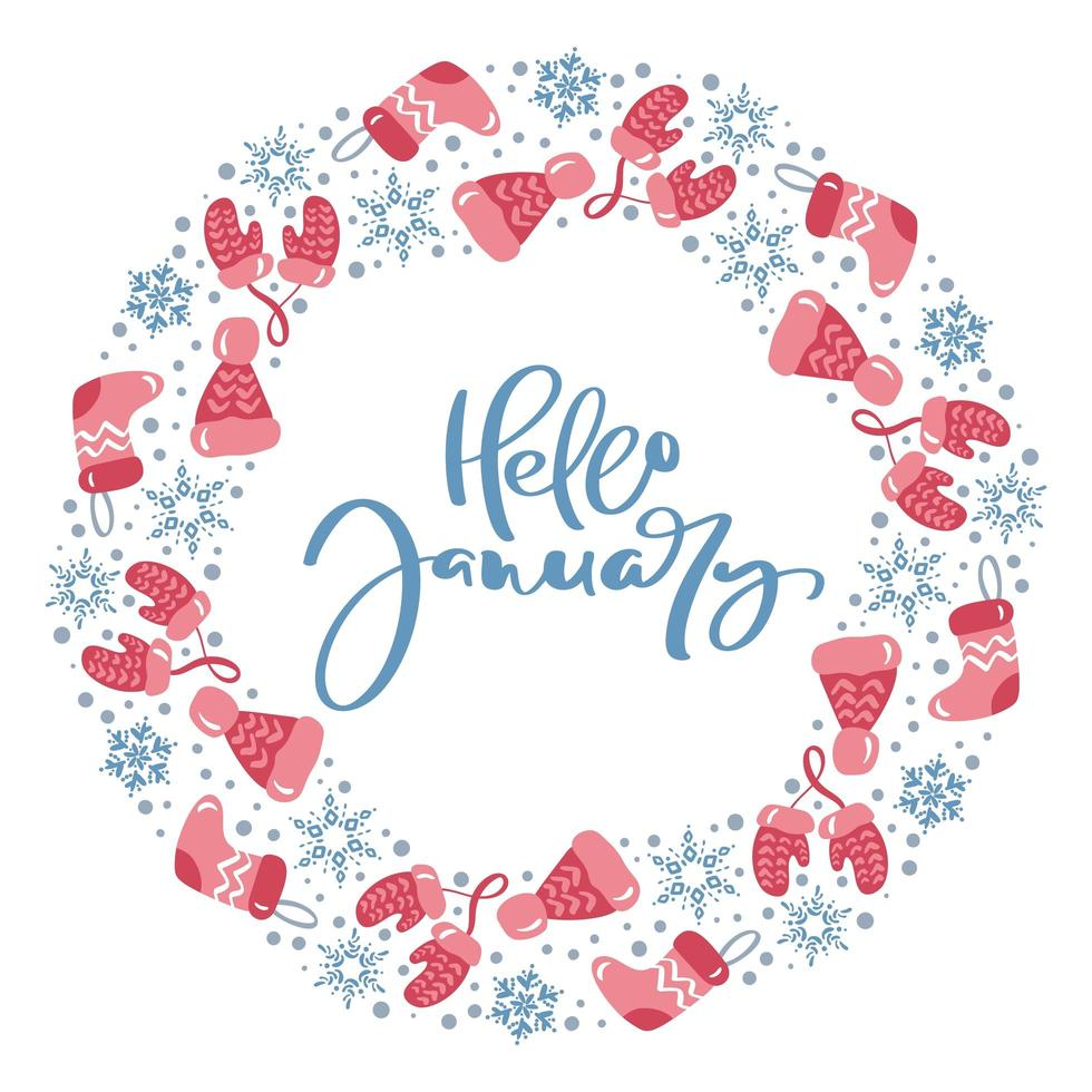 hej januari kalligrafi vinter elementkrans vektor