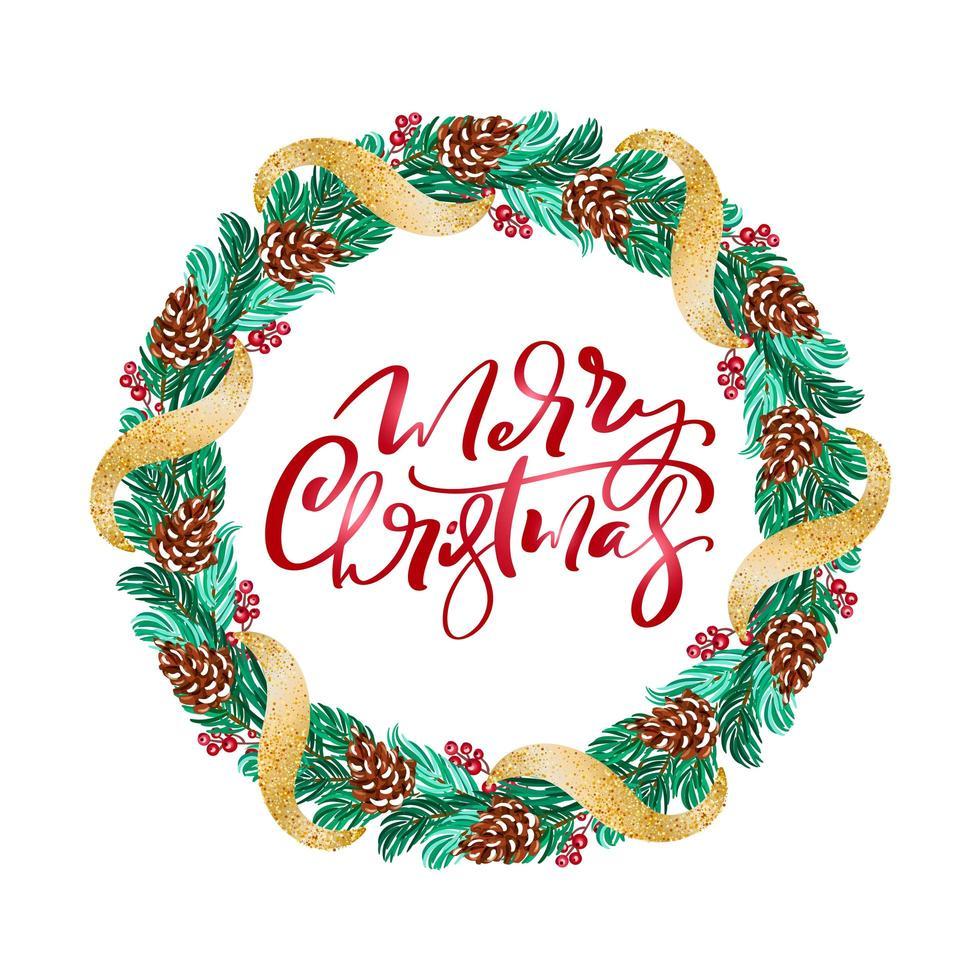 Weihnachtskranz mit roten Beeren auf immergrünen Zweigen vektor