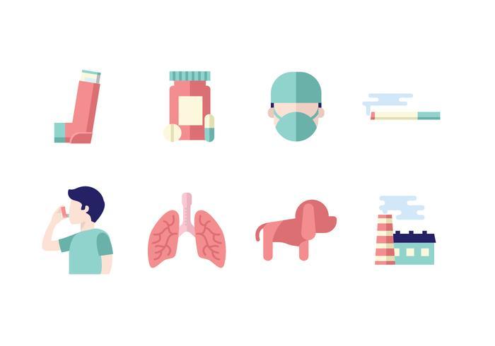 Medical Asthma Icon Set vektor