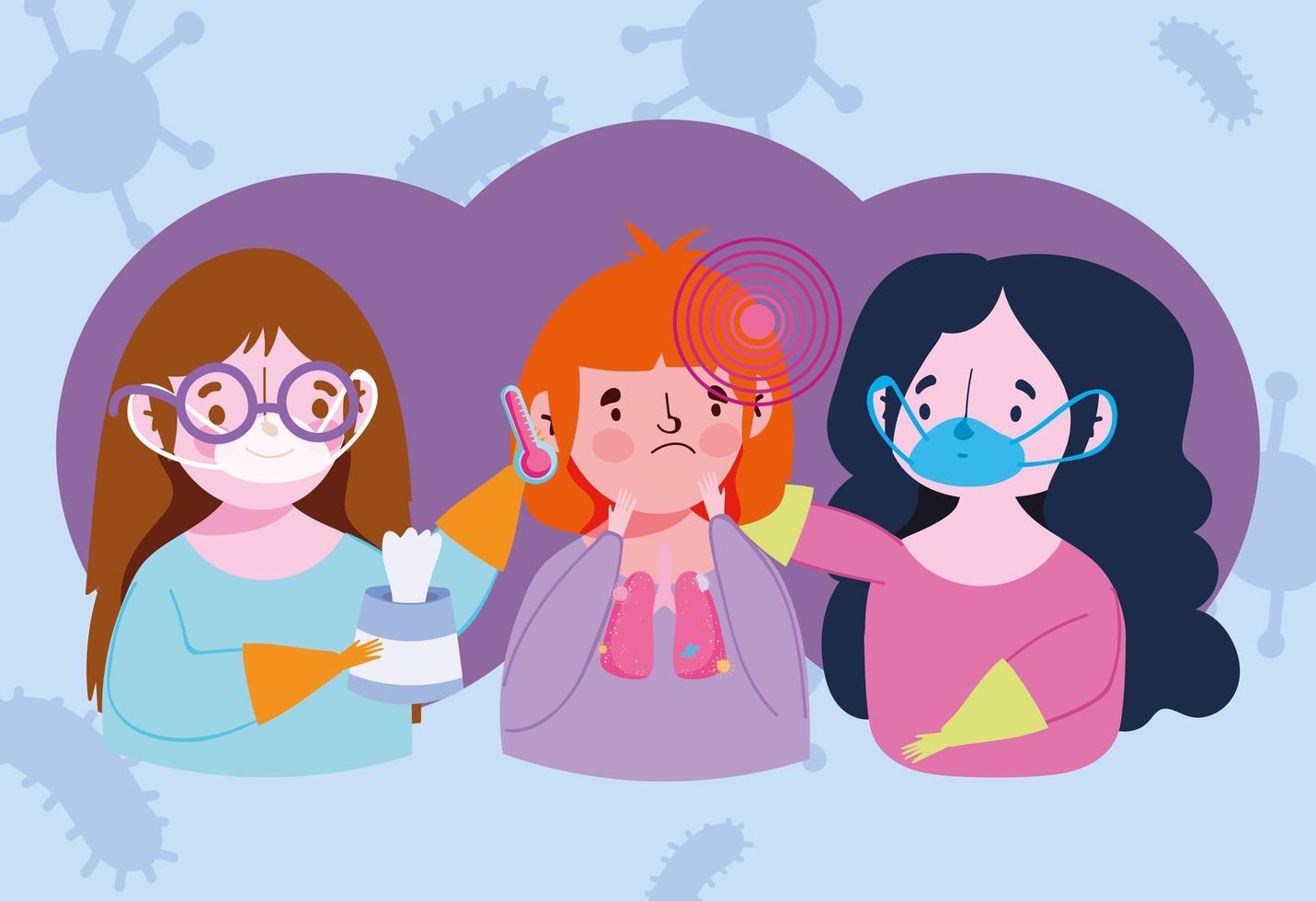 unga kvinnor som tar hand om en sjuk flicka vektor