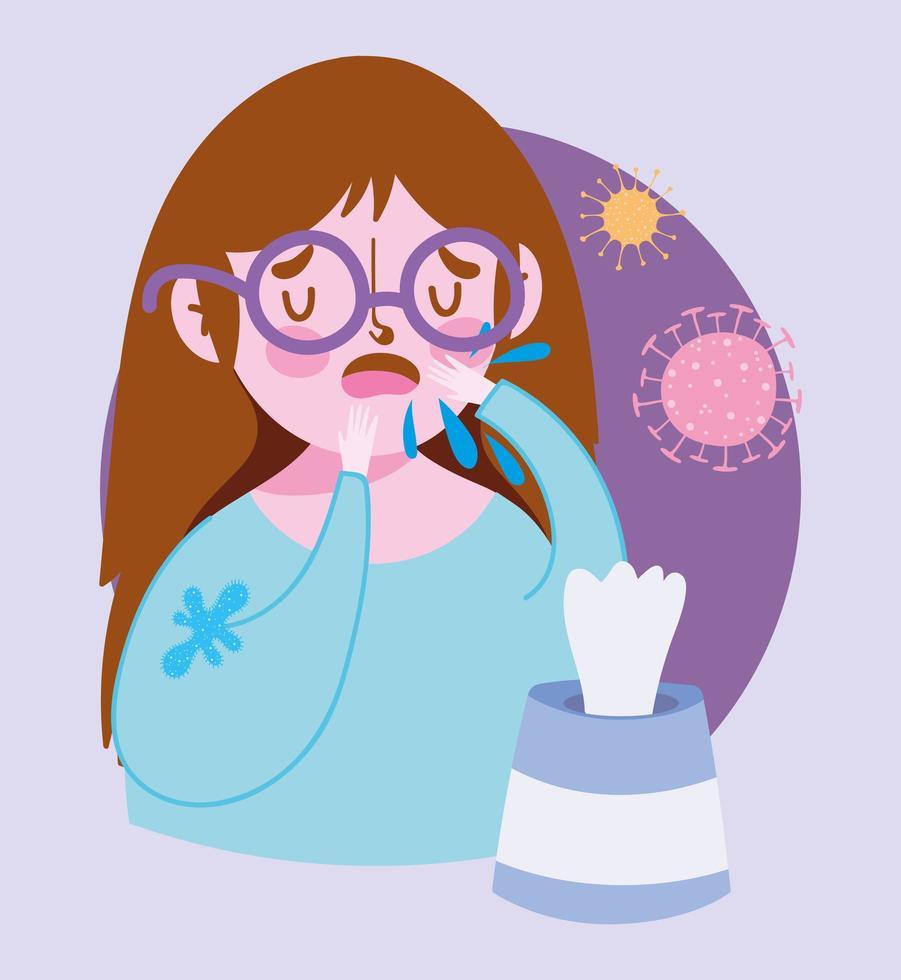 sjuk tjej med hostinfektion vektor