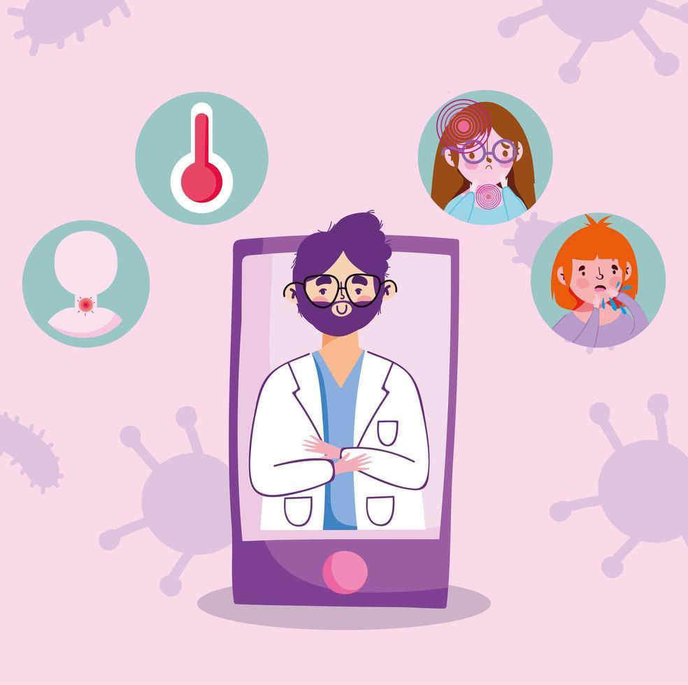 online läkartid via smartphone vektor