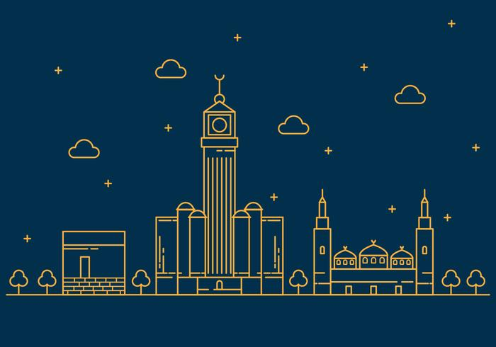 Fri Makkah Vektor Linje Illustration