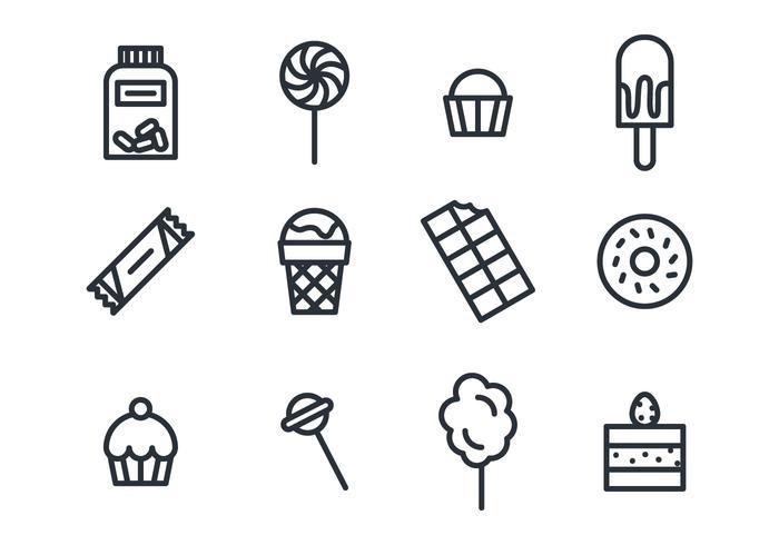 Süßwaren und Schokolade Symbole vektor