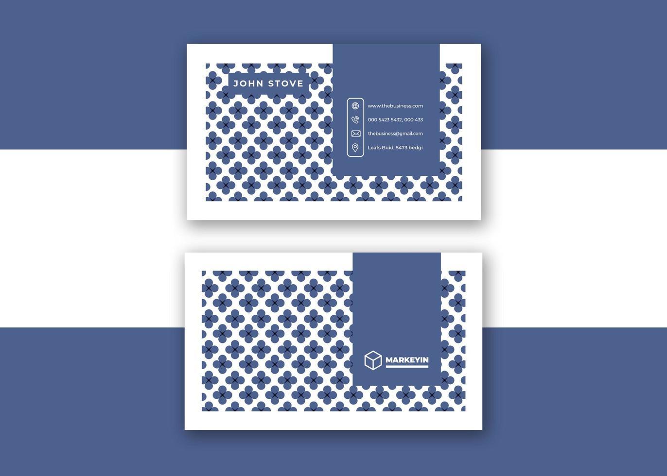elegant blå och vit visitkortdesign vektor
