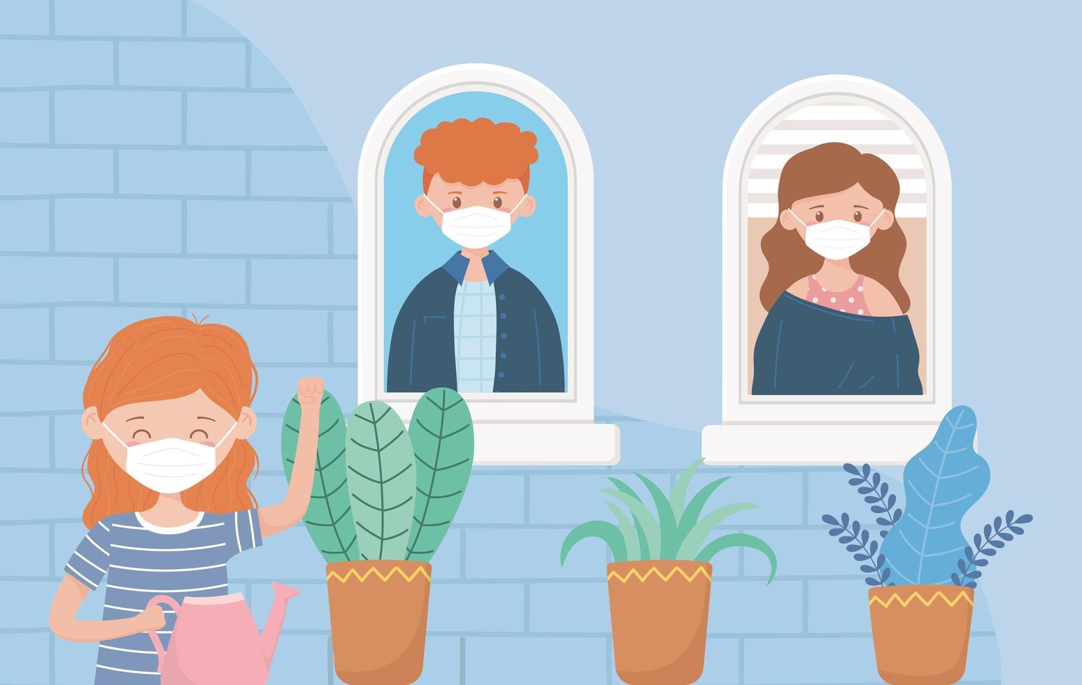 flicka vattna växter och vänner vid fönstret vektor