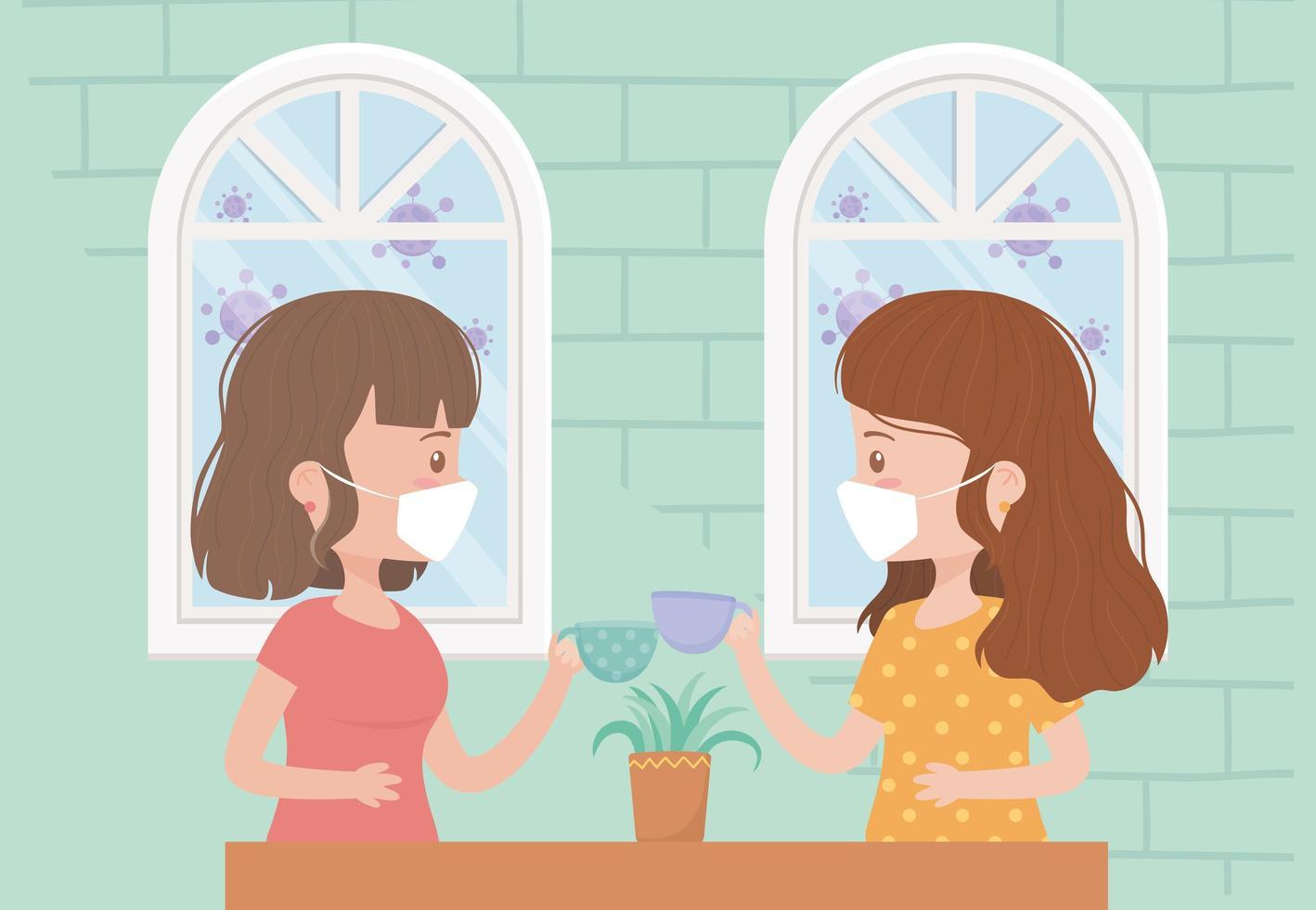 unga kvinnor som bär ansiktsmasker inomhus vektor