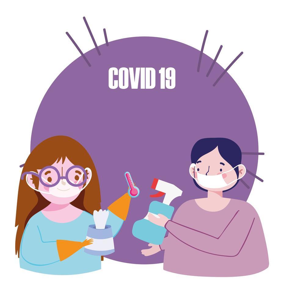 covid-19 förebyggande komposition vektor
