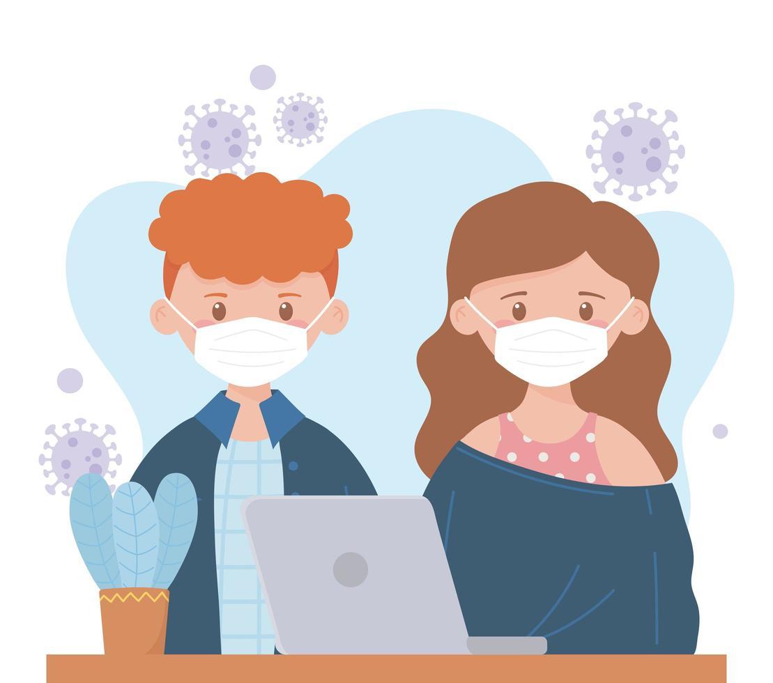 junge Leute mit Gesichtsmasken mit einem Laptop vektor
