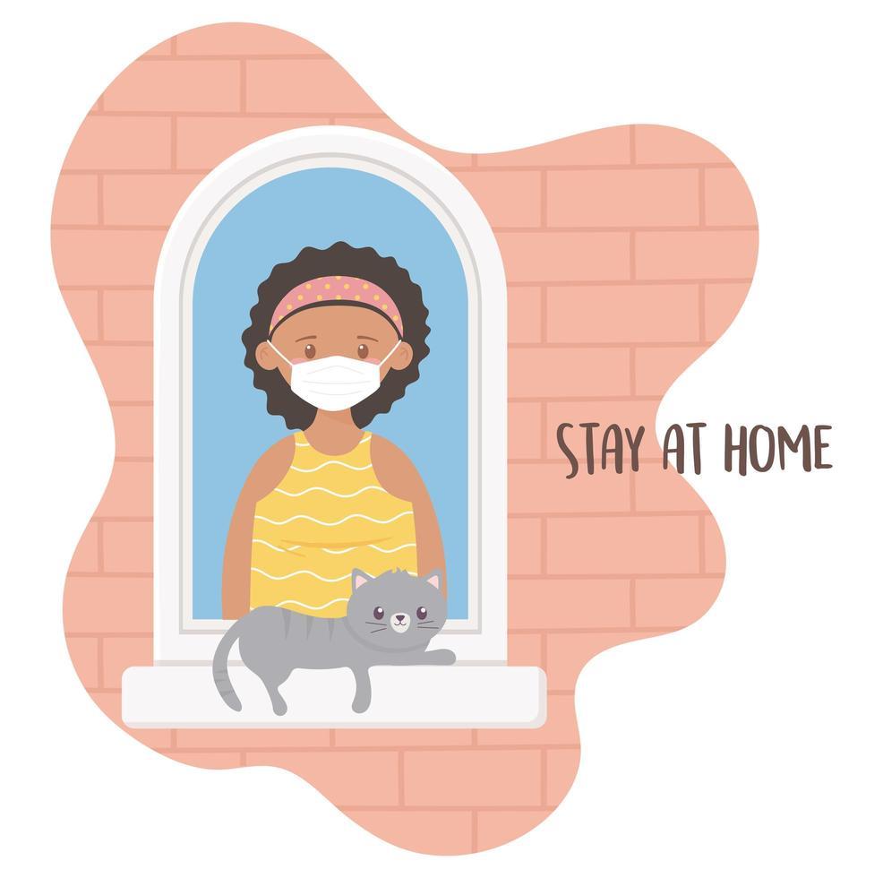 ung kvinna med katt på fönstret vektor