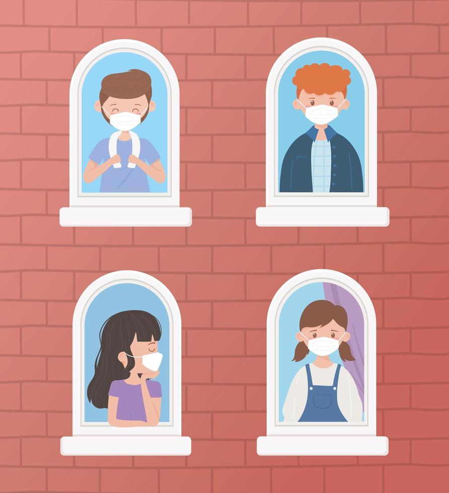 ungdomar som bär ansiktsmasker vid fönstret vektor