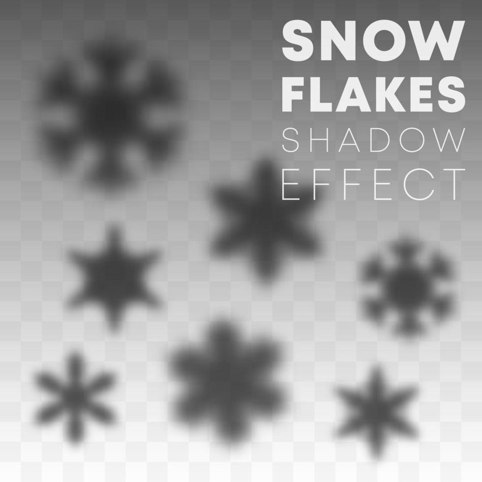 Schneeflocken Schatten Overlay Effekt eingestellt vektor