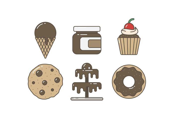 Kostenlose Köstlicher Schokoladenkuchen und süße Vektoren