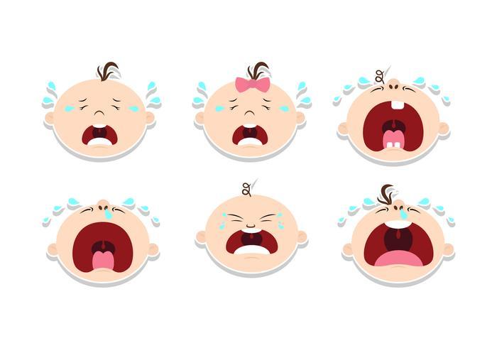 Schreiender Baby-Aufkleber Design-Vektoren vektor