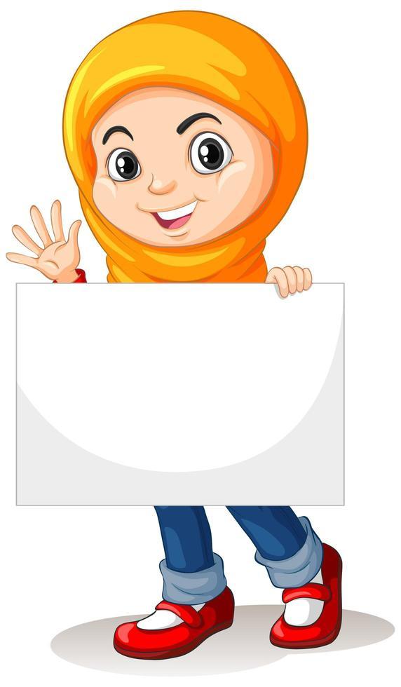 söt ung muslimsk flicka håller skylt vektor