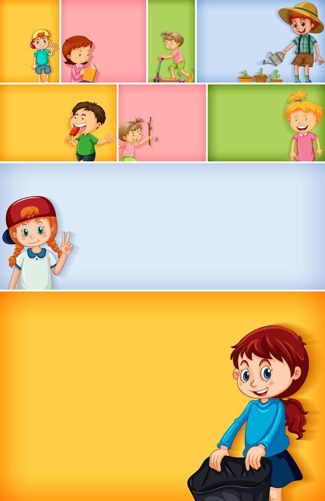 Satz von verschiedenen Kindercharakteren auf verschiedenen Farbhintergründen vektor