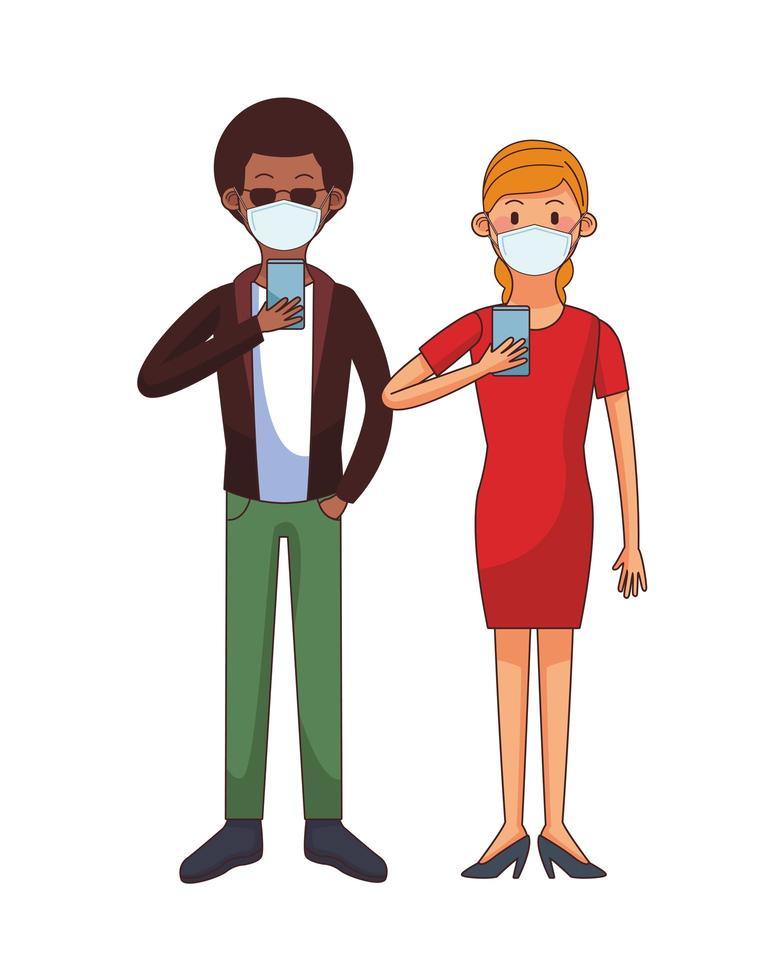 Interracial Paar trägt medizinische Maske mit Technologie Zeichen vektor