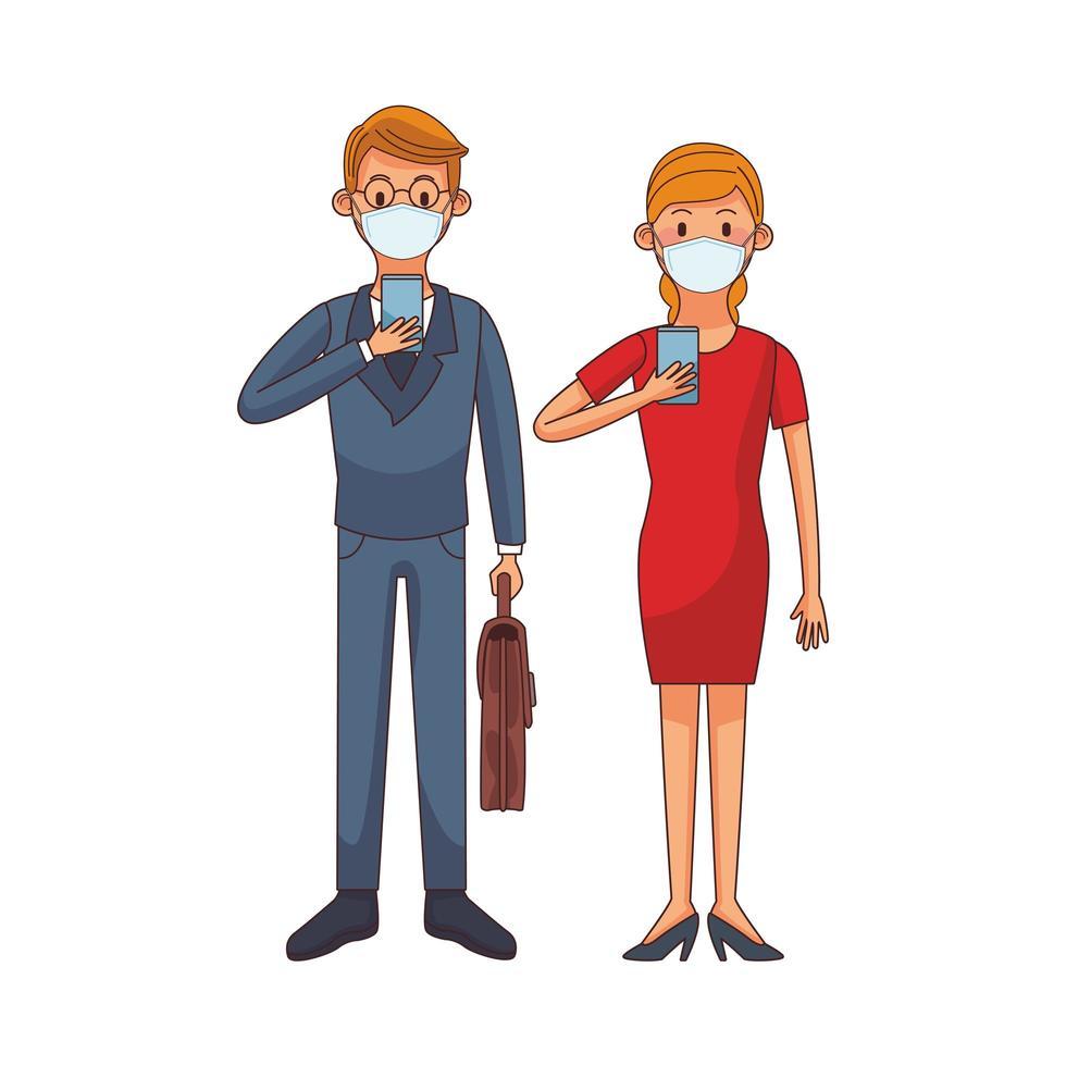ungt par som bär medicinsk mask med hjälp av teknologitecken vektor