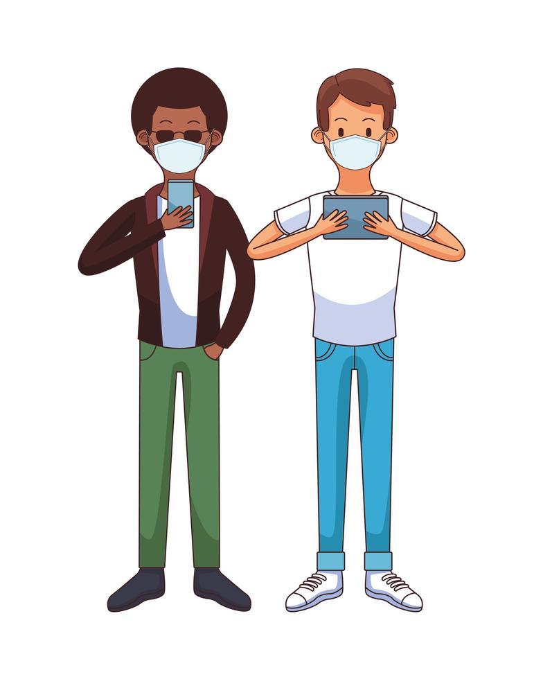 interracial män som bär medicinska masker med teknologiska tecken vektor