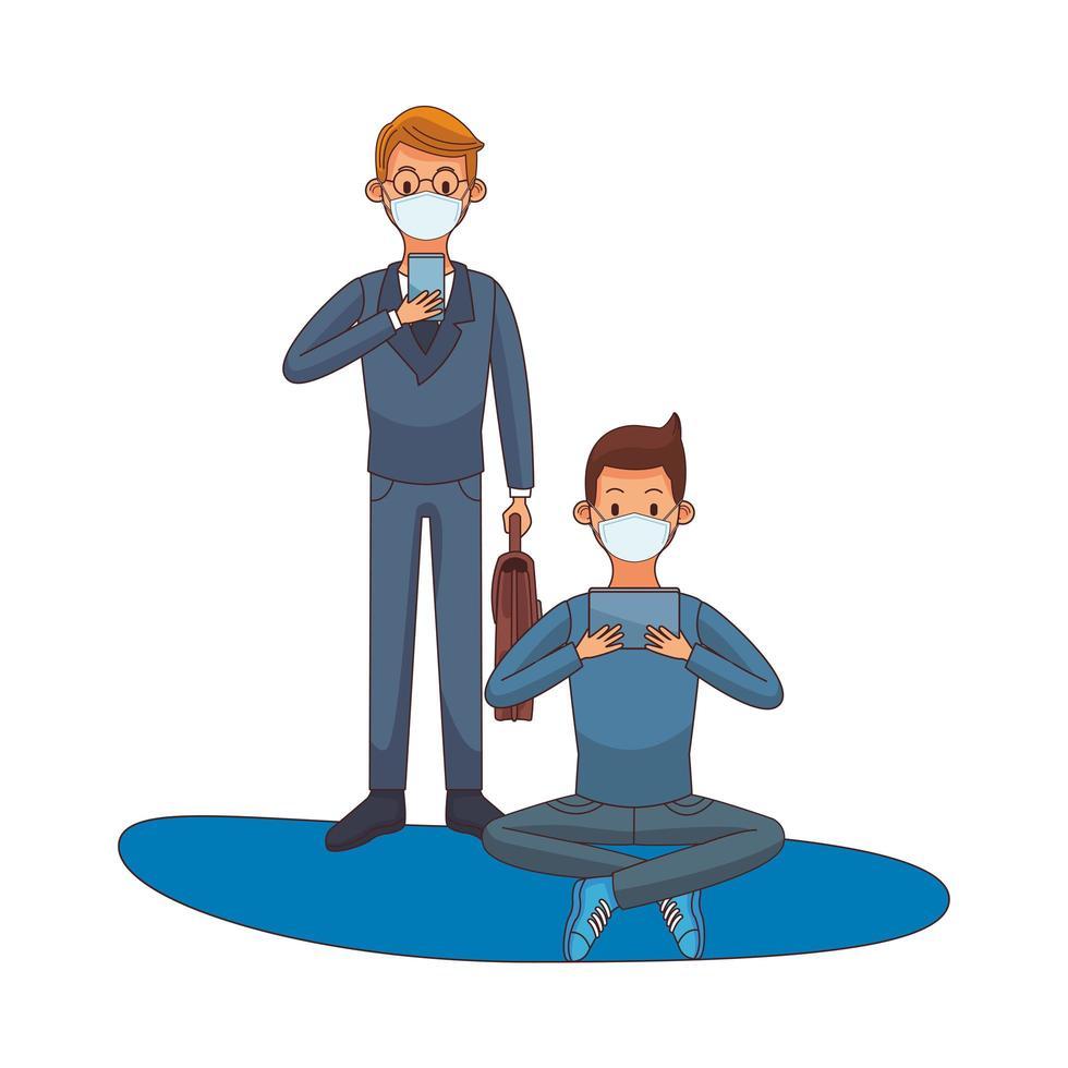 junge Männer, die medizinische Masken mit Technologiezeichen tragen vektor