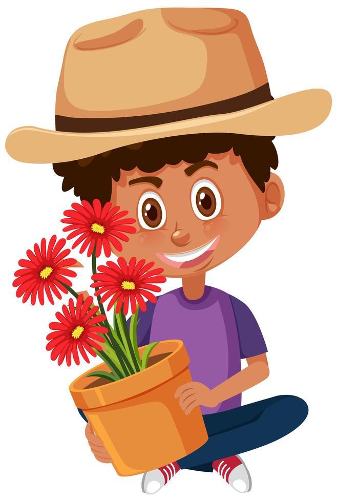 pojke med hattinnehavblomman i kruka vektor