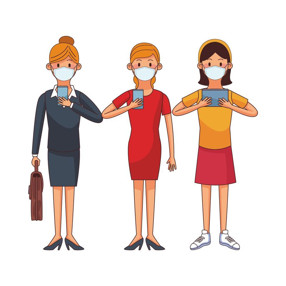unga kvinnor som bär medicinska masker med teknologiska tecken vektor