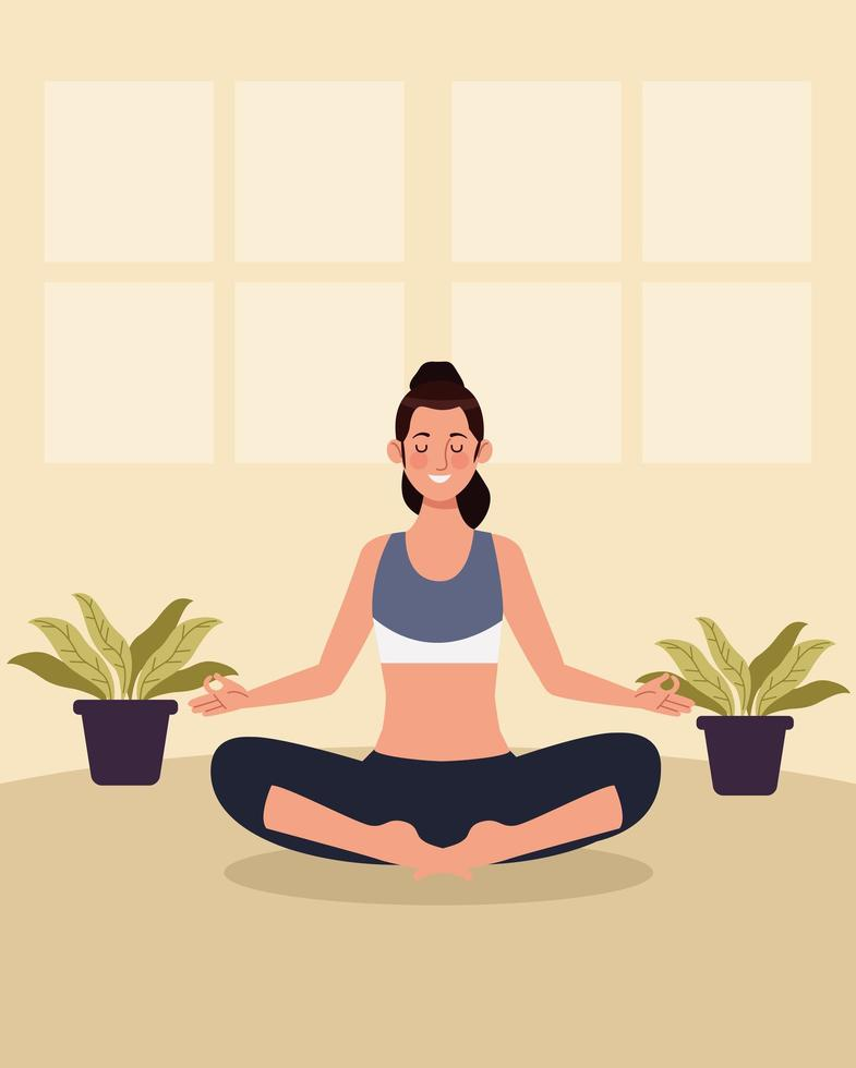 kvinna som övar yoga i huset vektor