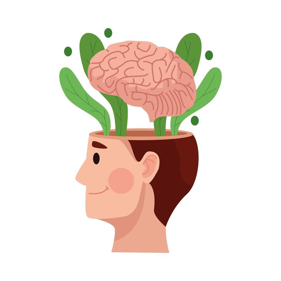 Profilperson mit Gehirn, Symbol für psychische Gesundheit vektor
