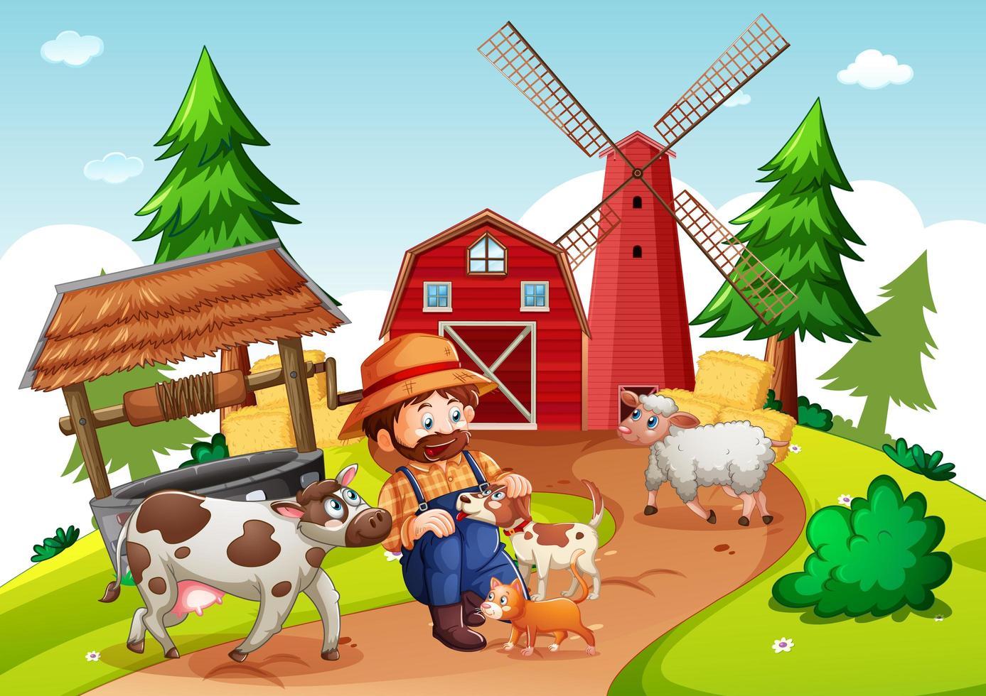 bonde med djur gård i gård scen vektor