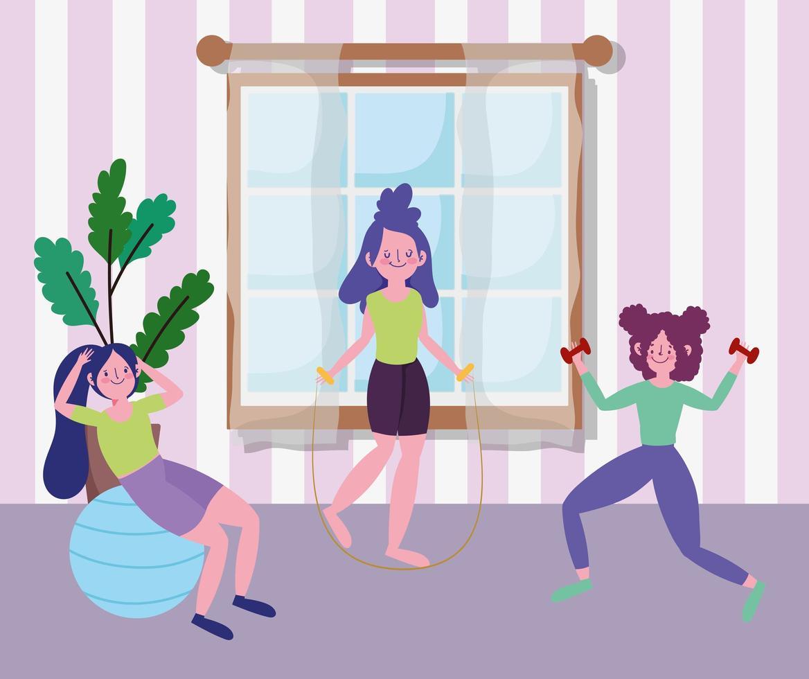 junge Frauen, die drinnen zusammen trainieren vektor