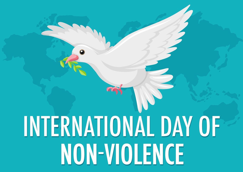 Internationaler Tag der Gewaltlosigkeit Banner vektor