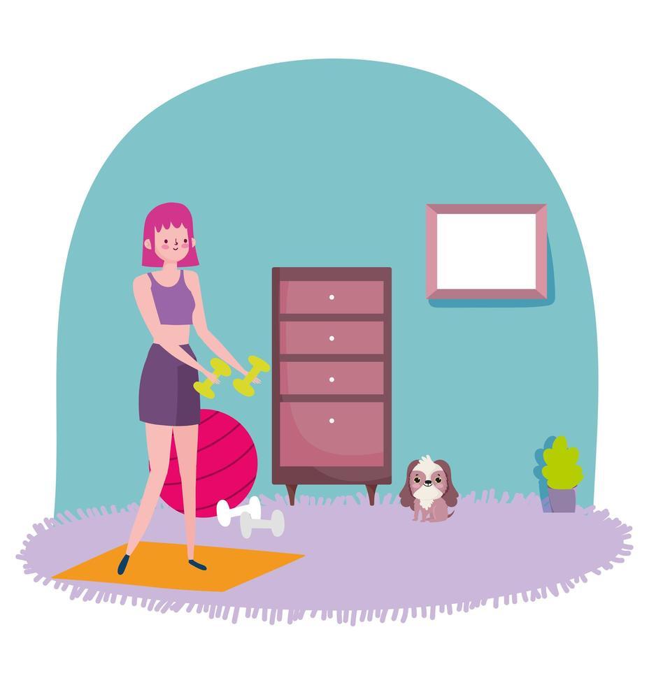 ung kvinna som tränar hemma vektor