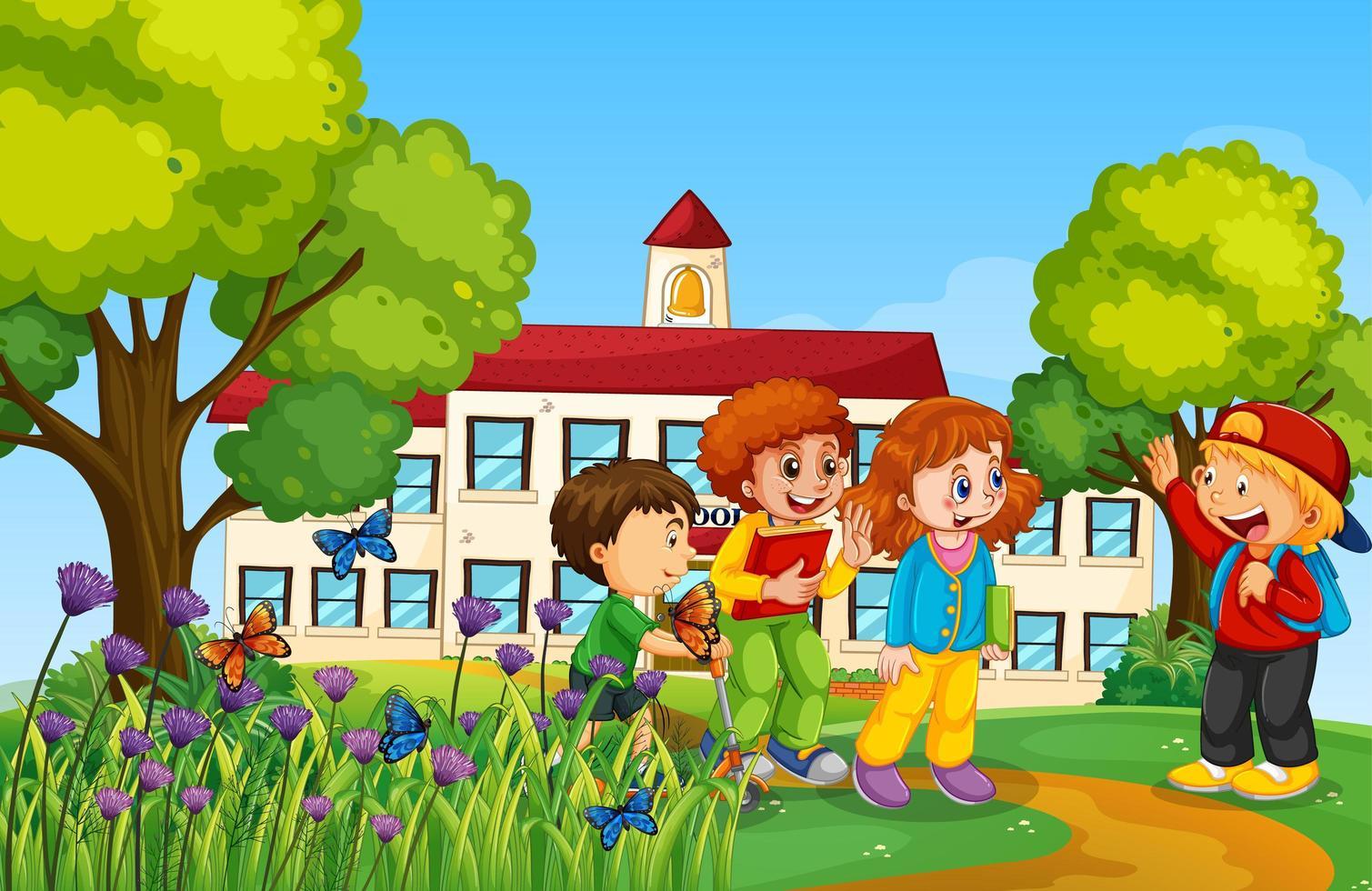 glada barn framför skolan vektor