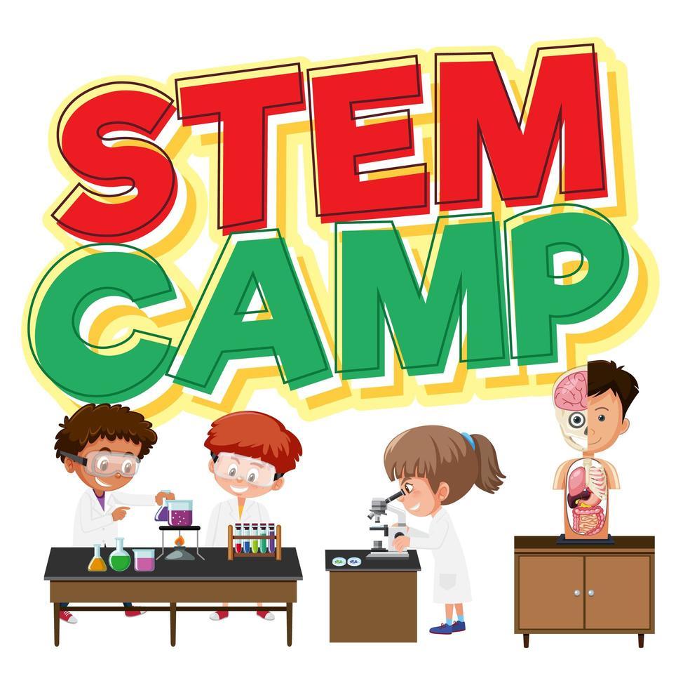stamcamp banner med barn vektor