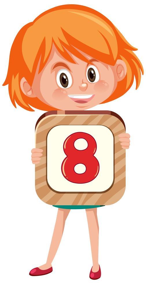 flicka som håller nummer 8 vektor