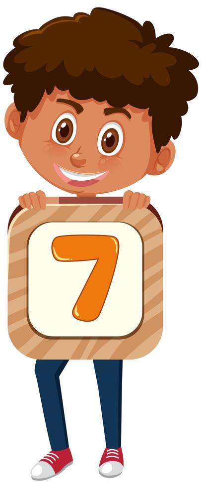 pojke som håller nummer 7 vektor