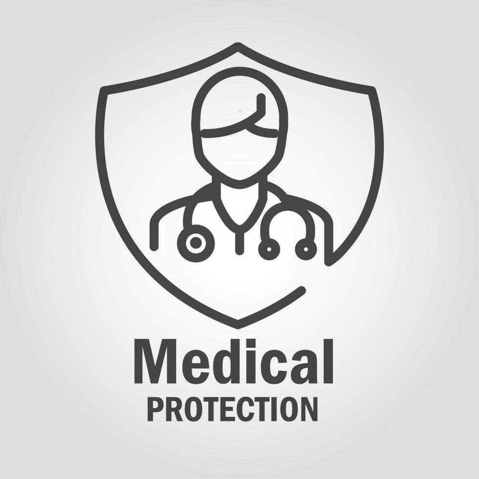 medizinisches Schutzbanner mit Piktogramm vektor