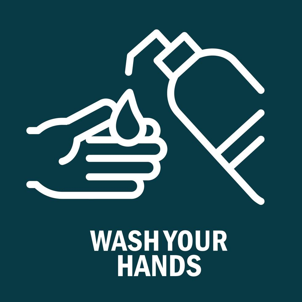 Schützen und waschen Sie Ihre Hände Piktogramm mit Nachricht vektor