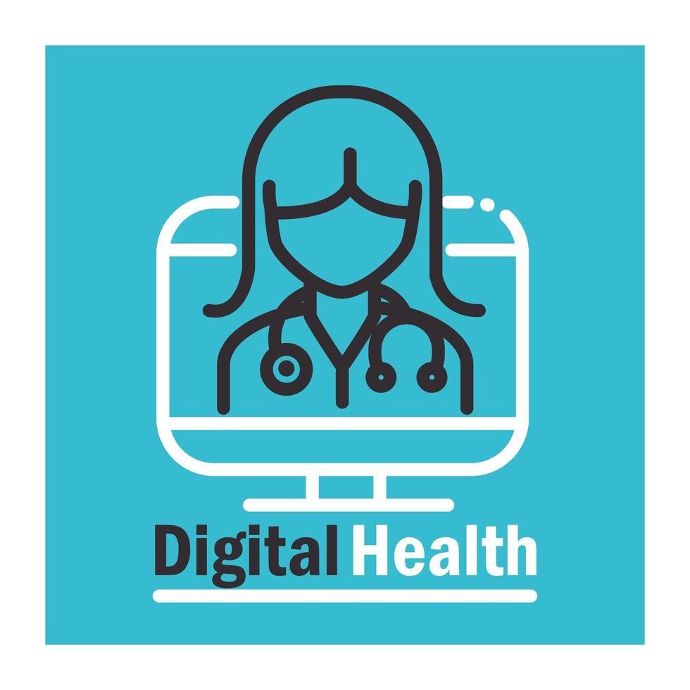 digital hälsobanderoll med piktogram vektor
