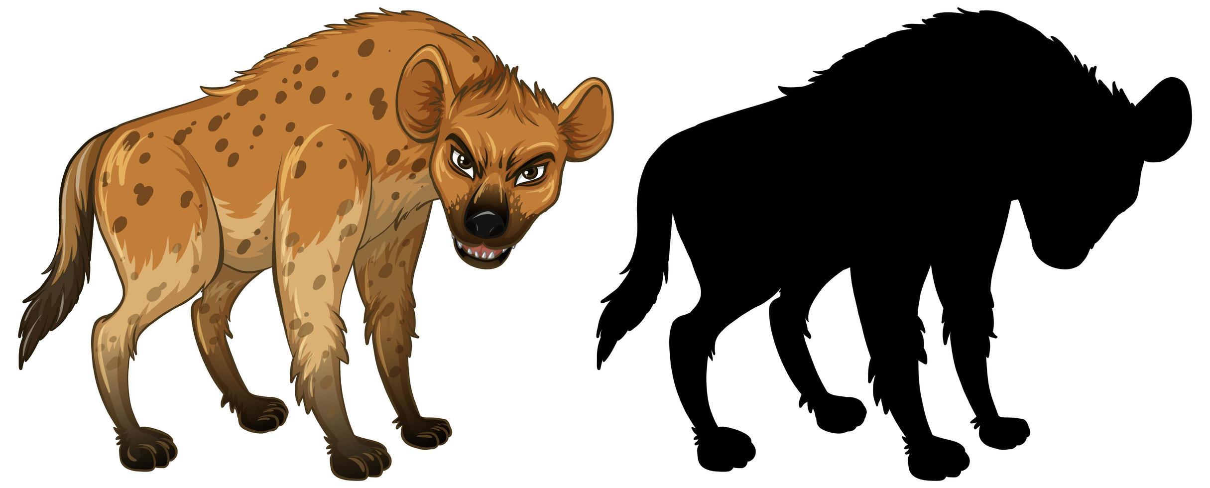 Hyänencharakter und seine Silhouette auf weißem Hintergrund vektor