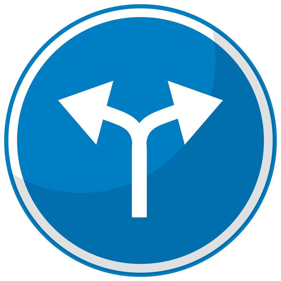 blaues Verkehrszeichen lokalisiert auf weißem Hintergrund vektor