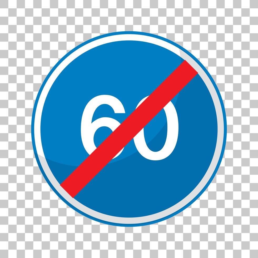 blå hastighetsgräns 60 vägskylt vektor