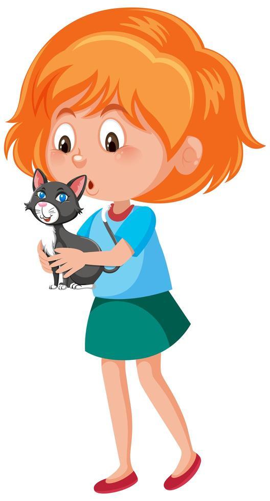 Mädchen, das niedliche Tierzeichentrickfilmfigur hält vektor
